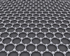 Carbon atoms form sheets to make graphene.