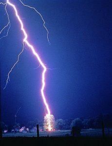 Lightning striking a tree.