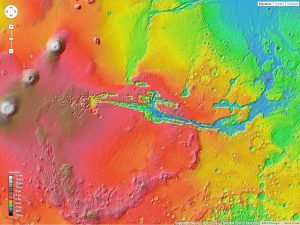 This is a false color map of the Noctis Labrinthus and Valles marineris canyon network using Google Mars (google.com/mars)