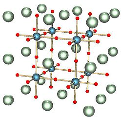 Perovskite crystal structure. Perovskites are crystals with structure ABX3 where A and B are cations of different sizes and X is a halide atom. The green and blue atoms are the cations and the red is the halide.