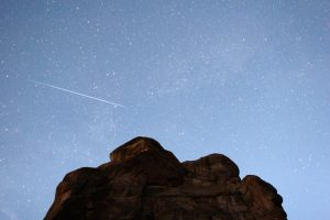 Perseid meteor streaking across Colorado. Credit: NASA