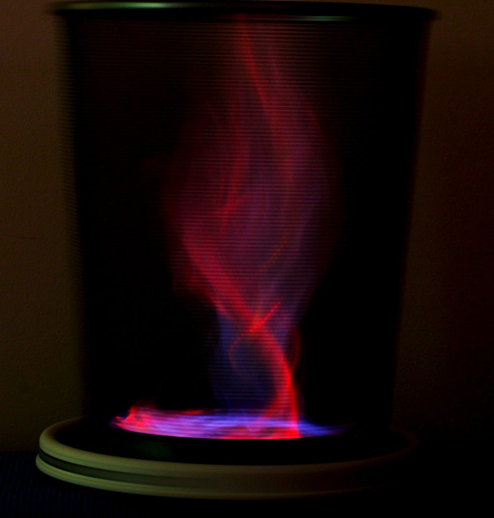 make a tabletop fire tornado  red and blue flames