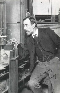 William Ramsay (1852-1916) at work. Ramsay discovered the noble gases.