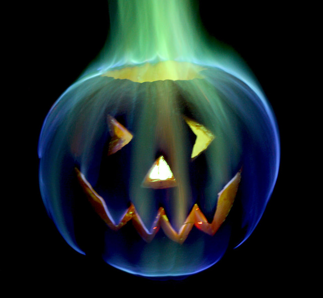 Rainbow Flames Halloween Jack o' Lantern