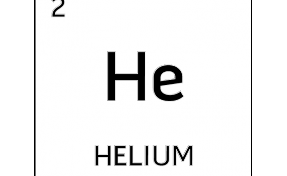 Black and white element cell for helium.