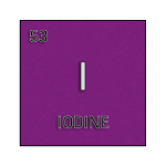 Color element cell for iodine.
