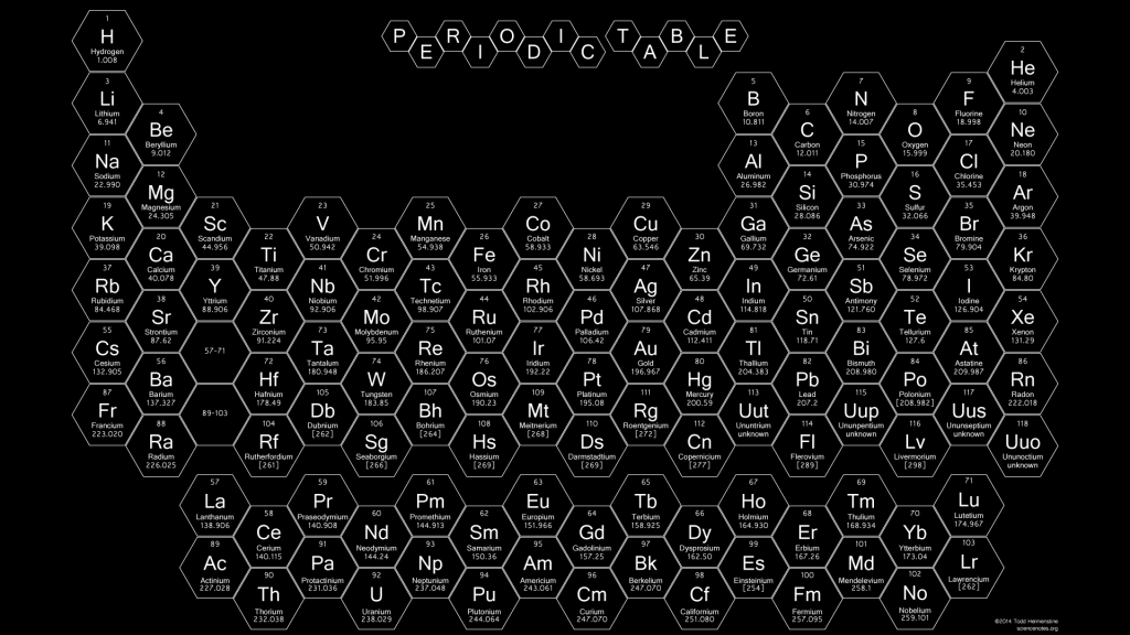Honeycomb Periodic Table - White Text