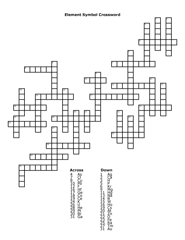 Element Symbol Crossword