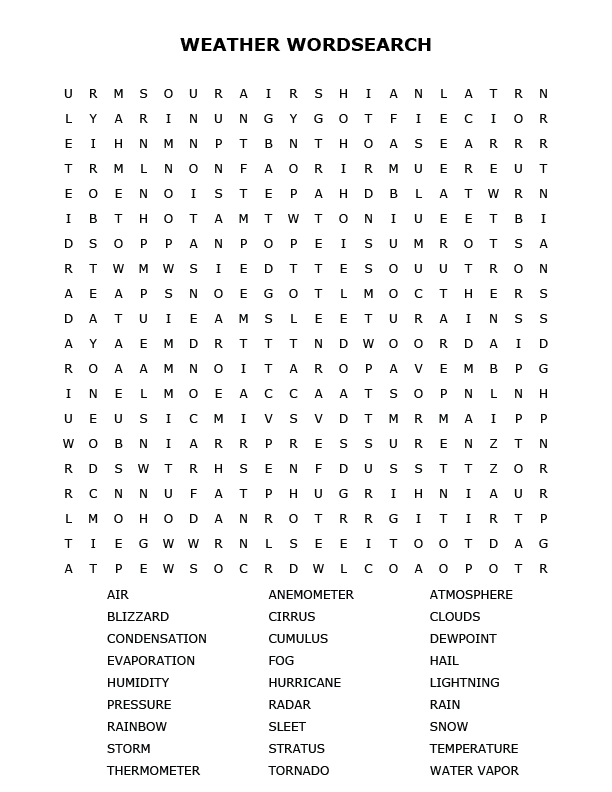 picture relating to Word Search Printable Pdf known as Weather conditions Term Look Puzzle