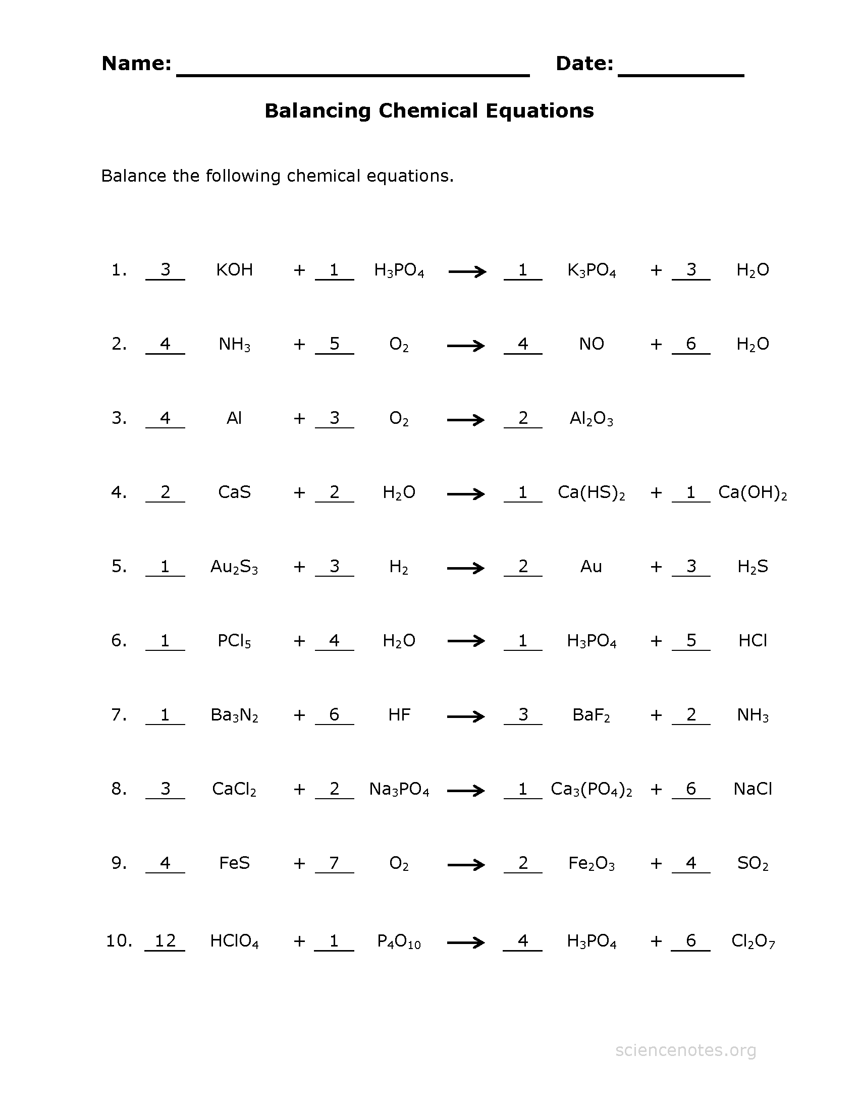 Balancing Chemical Equations Practice Sheet – Balancing Equations Worksheet with Answers