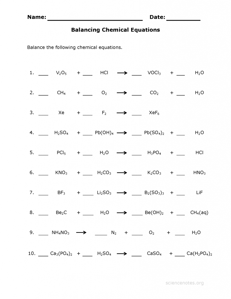 chemical balancing worksheet