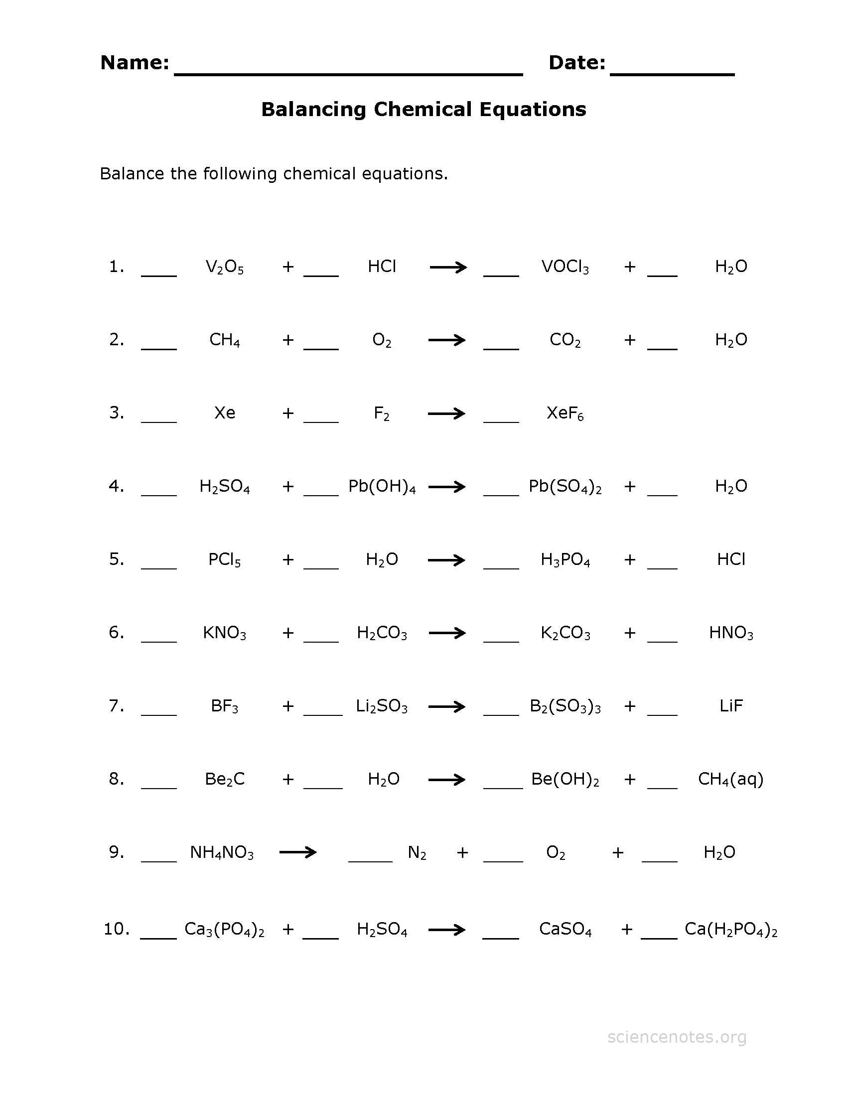 {Balance Chemical Equations Worksheet – Balancing Chemical Equations Worksheet 3