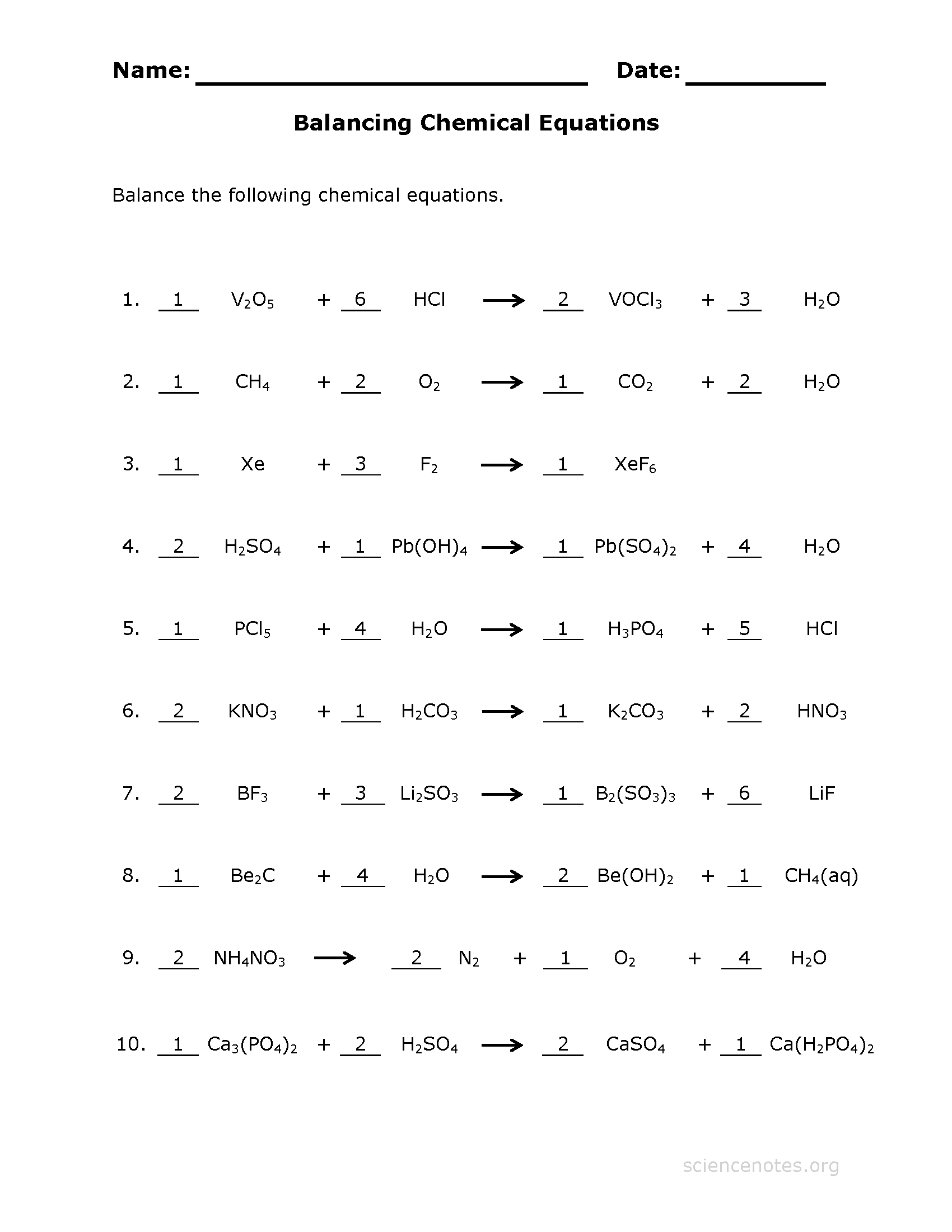 yet another printable worksheet answer key - Balancing Equations Worksheet Answers