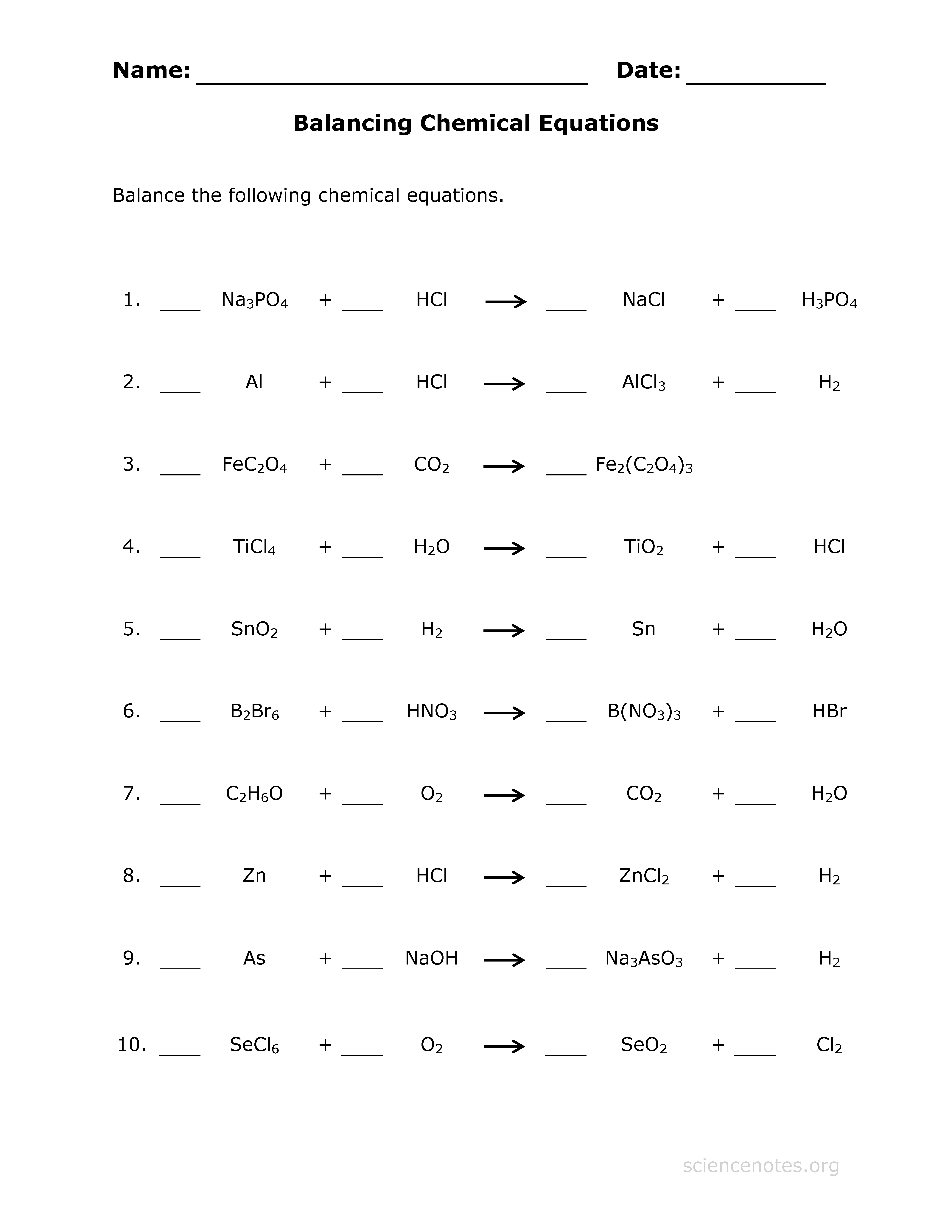 Balancing Equations Worksheet 1 Answers Worksheets for all ...