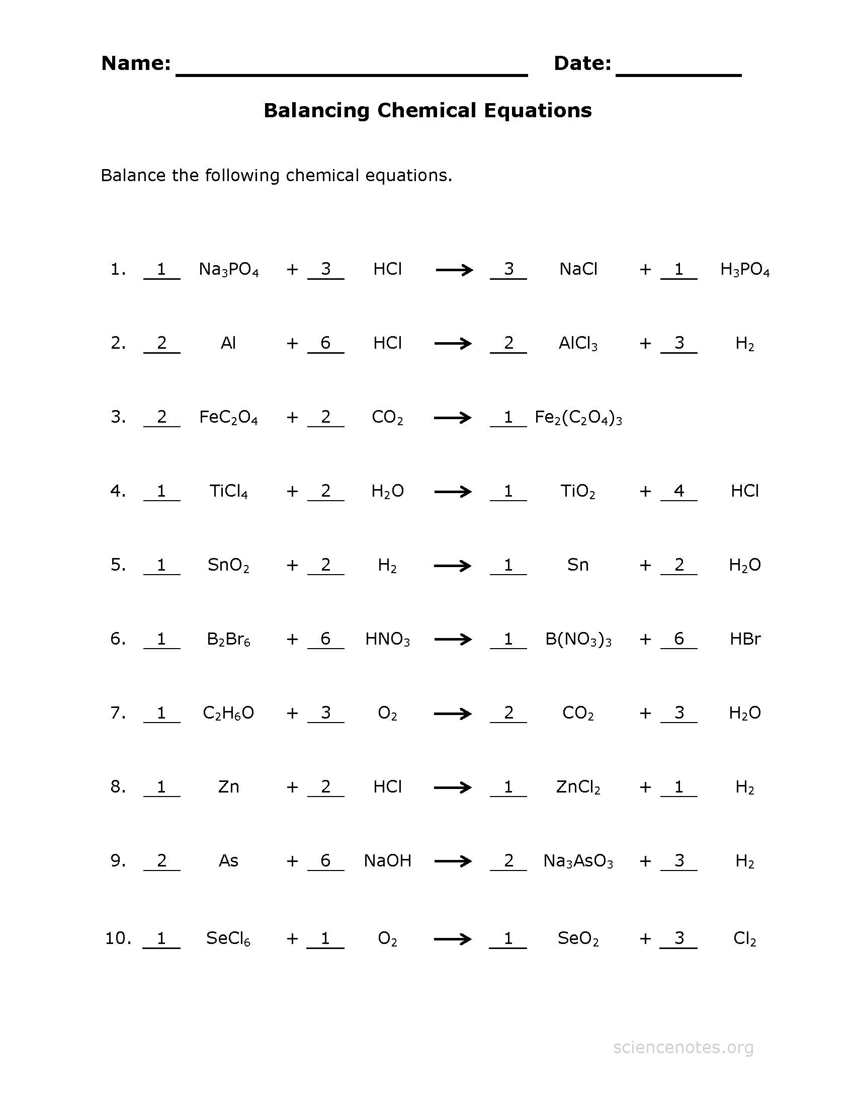 Balance Chemical Equations Worksheet 4 Key - Science Notes ...