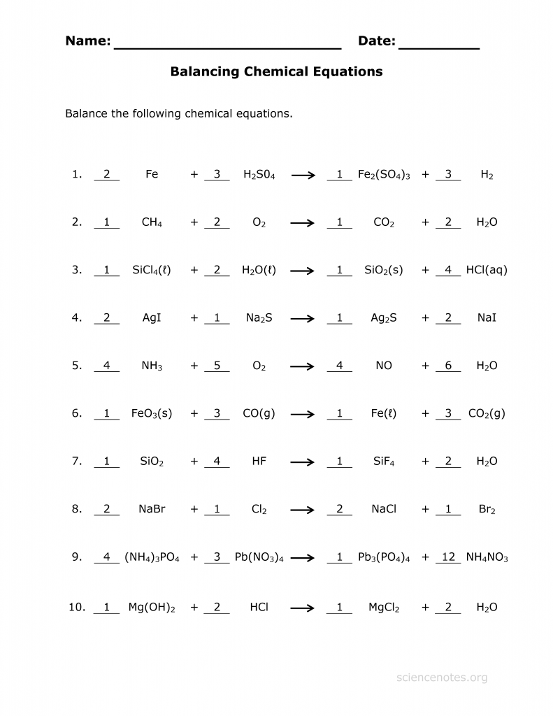 Balancing chemical equations answer key science notes