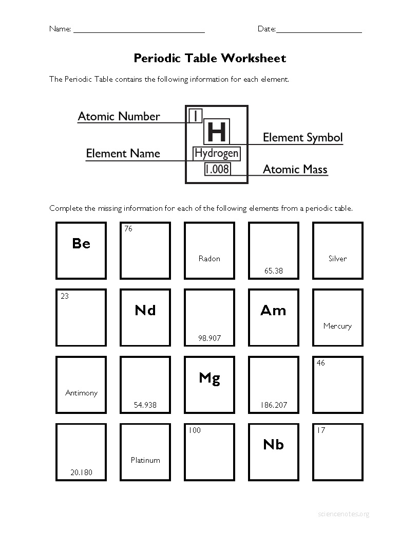periodic table worksheet 2 - Periodic Table Of Elements Handout