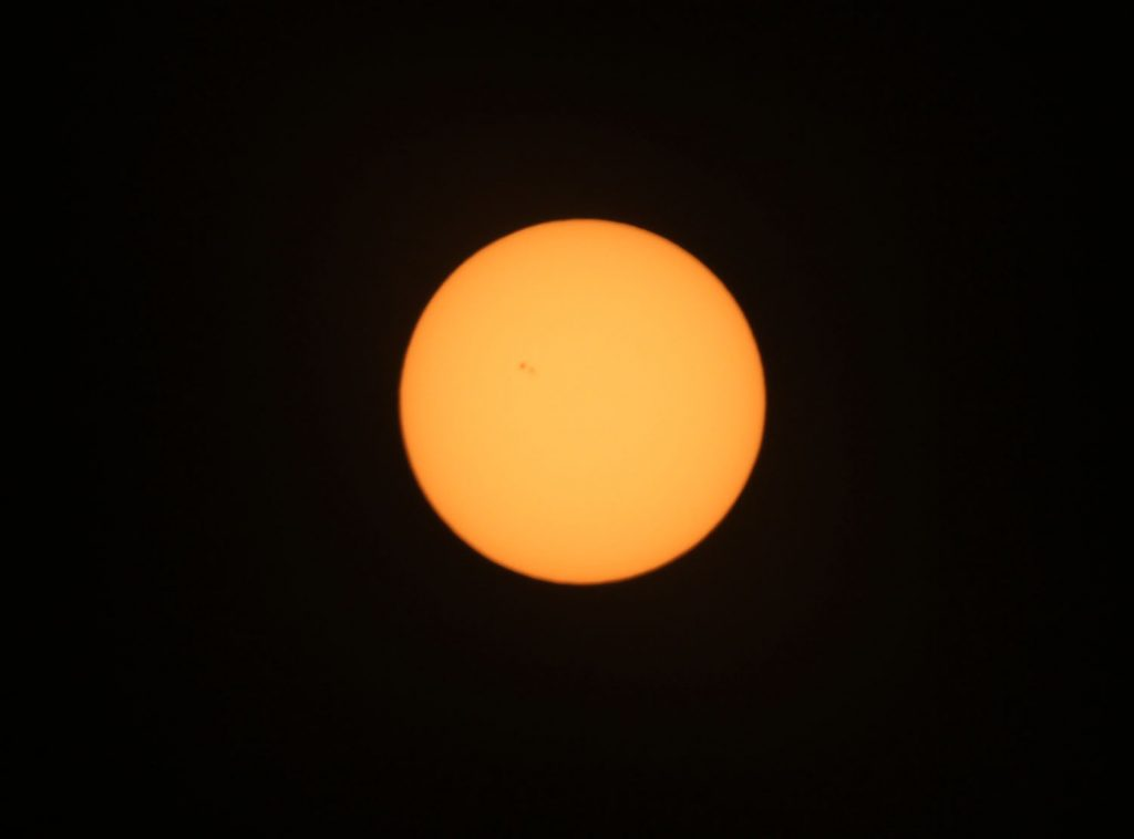 Photo of the sun taken with a Canon camera and cheap solar filter on March 11, 2015.