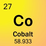 Cobalt is atomic number 27 with element symbol Co on the periodic table.