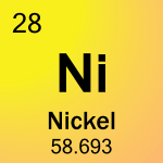 Nickel is atomic number 28 with element symbol Ni.