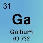 Gallium is the element with atomic number 31 and element symbol Ga.