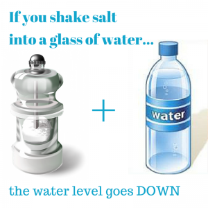 Weird Science Fact: Adding salt to water actually lowers the water level rather than raising it.