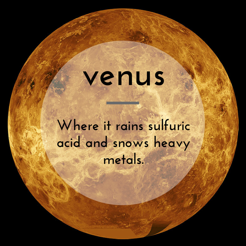 facts science weird venus heavy acid sulfuric rains snows space fact metal planet snow metals projects rain sciencenotes solar system