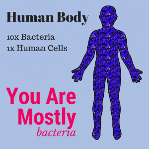There are 10x more bacteria in your body than there are human cells, so if you just went by the numbers, you're more bacteria than person!