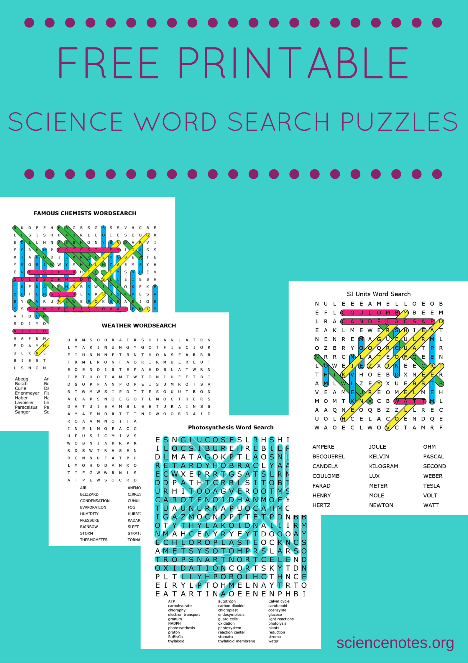 Download Or Print Free Science Word Search Puzzles