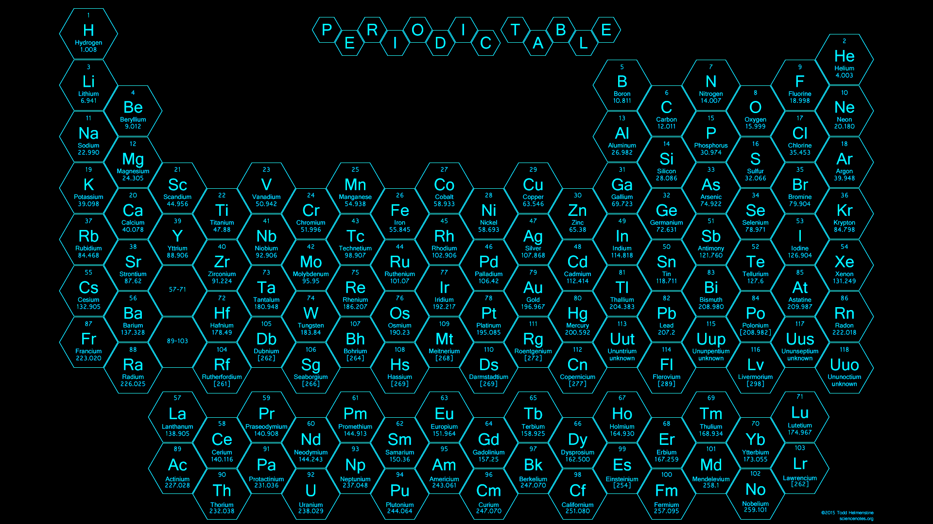 Attractive 2015   Honeycomb Periodic Table   Blue