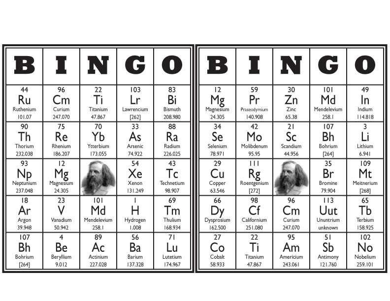 Periodic Table Bingo Cards
