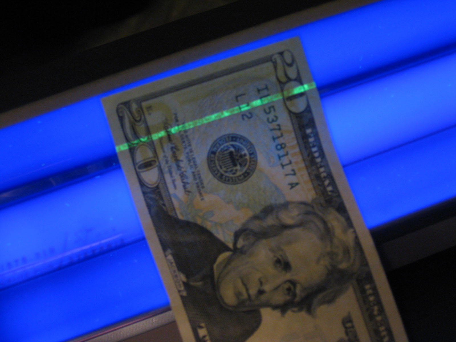 Glowing Security Strip in Currency (Scott Nazelrod)