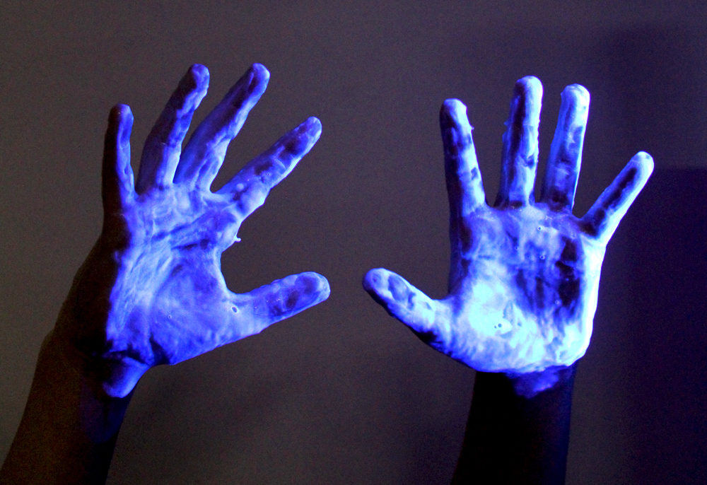 Laundry Detergent on Hands Glows in Black Light