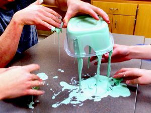 Oobleck is a type of slime that behaves as a viscoelastic or non-Newtonian fluid. (David Mulder)