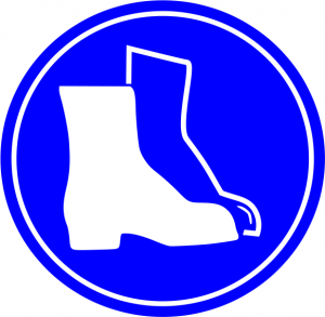 Blue Boots Required Lab Safety Sign