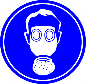 Blue Breathing Mask Required Sign