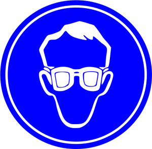 Blue Safety Glasses Required Sign