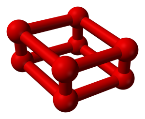 Solid oxygen colors include red. The O8 allotrope, called octaoxygen, forms red crystals. (image: Ben Mills)