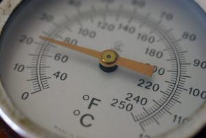 This thermometer registers temperature in Celsius and Fahrenheit, which both use the degree symbol. Kelvin doesn't use the symbol because it's an absolute temperature scale with a defined endpoint. (image: Ged Carroll)