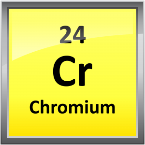 Chromium is element atomic number 24. It's a hard, shiny transition metal.