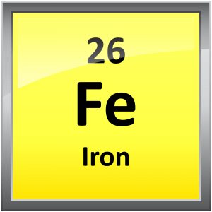 Iron is atomic number 26 and has the element symbol Fe.