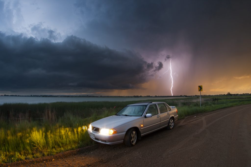 Being in a car with a metal body and the windows rolled up gives you some protection if lightning strikes the vehicle. Photo Credit: Bryce Bradford
