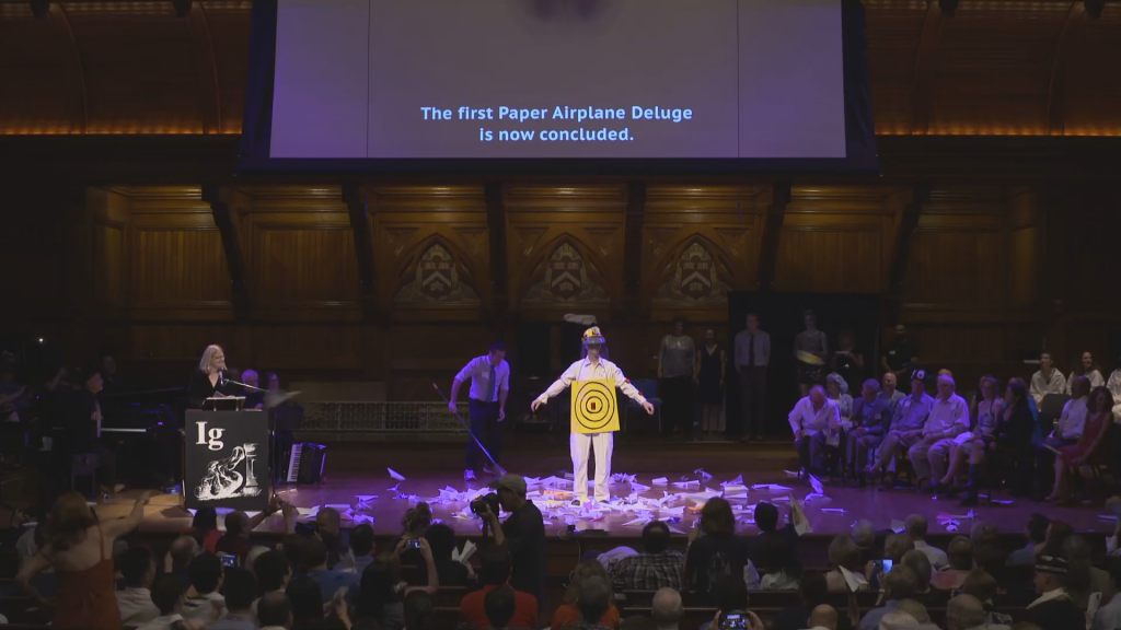 Paper Airplane Throwing at the 2016 Ig Nobel Awards