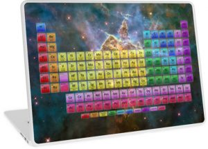 Laptop skin with the periodic table poster featuring the Carina Nebula.
