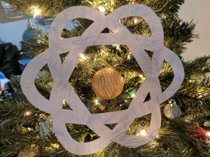 Paper Atom Decoration on a Christmas Tree
