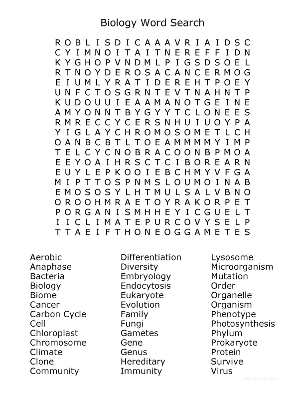 Biology Word Search - Science Word Searches