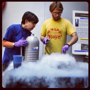 Liquid nitrogen boils at room temperature. If you microwave it, it's already boiling, so nothing much happens. (NASA Goddard)
