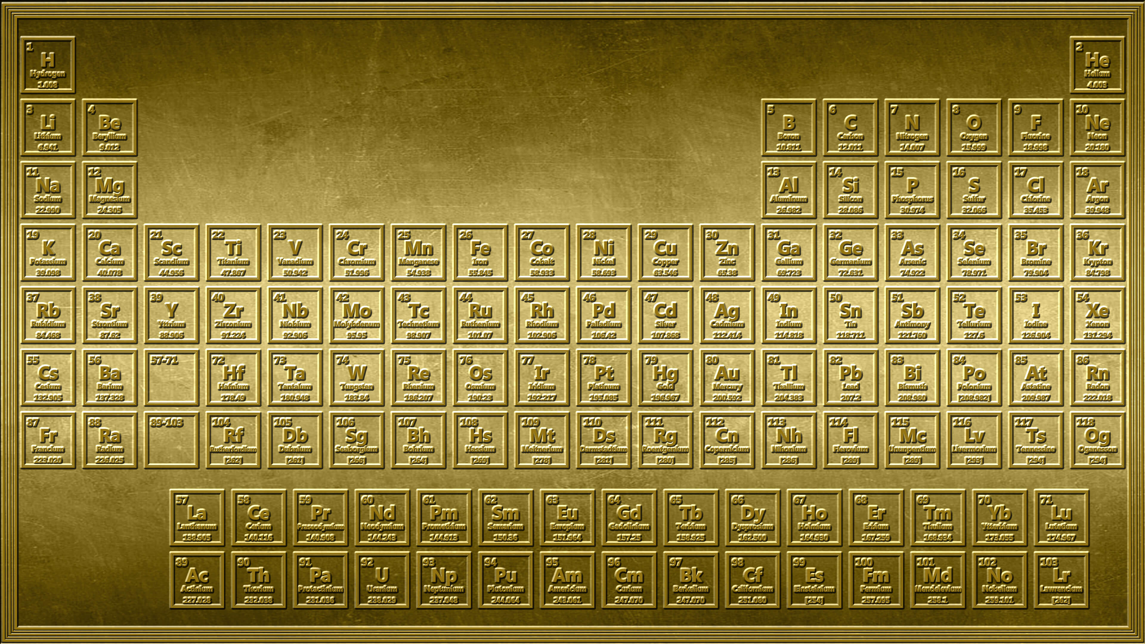 Gold Periodic Table Wallpaper