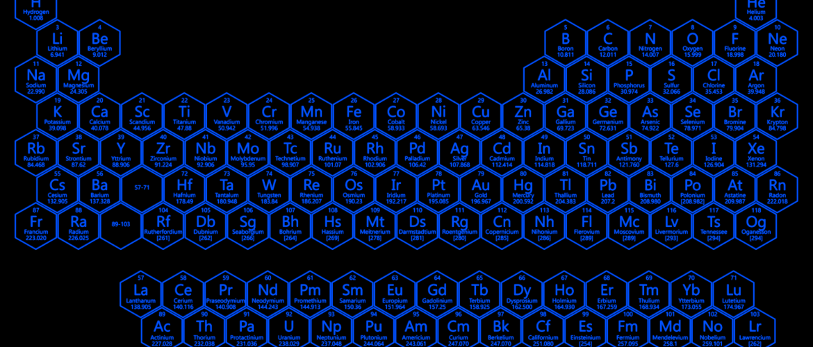 blue neon hexagon periodic table
