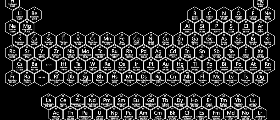 White Neon Honeycomb Periodic Table - 2017 Edition